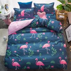 Комплект постельного белья Розовый фламинго с простынью на резинке (евро)