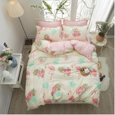 Комплект постельного белья Фламинго и цветы (двуспальный-евро)