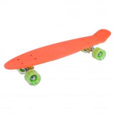 Скейт GO Travel оранжевый с зелеными прозрачными колесами (LS-P2206OGT)