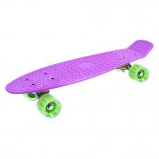 Скейт GO Travel фиолетовый с зелеными прозрачными колесам (LS-P2206VGT)