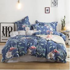 Комплект постельного белья Фламинго и белый цветок (двуспальный-евро)
