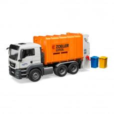 Машинка игрушечная Мусоровоз МАН Bruder бело-оранжевый (03762)