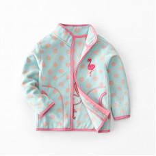 Кофта для девочки флисовая утеплённая Маленький фламинго, голубой