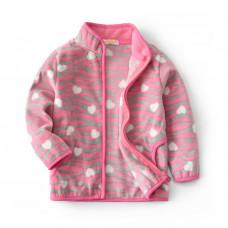Кофта для девочки флисовая утеплённая Розовый тигр