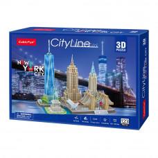 Трёхмерная головоломка-конструктор Cubic Fun Сити лайн Нью-Йорк (MC255h)