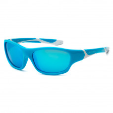 Солнцезащитные очки Koolsun Sport бирюзово-белые до 8 лет (KS-SPBLSH003)