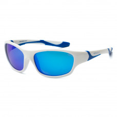 Солнцезащитные очки Koolsun Sport бело-голубые до 8 лет (KS-SPWHSH003)