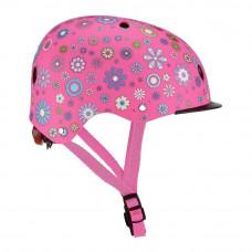 Защитный шлем Globber Цветы розовый с фонариком  (507-110)