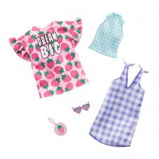 Одежда Barbie Два наряда Розовая футболка и голубое платье в клеточку (FYW82/GHX61)
