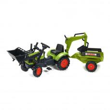 Веломобиль Falk Трактор Claas Arion с прицепом и ковшами зеленый (2040N)