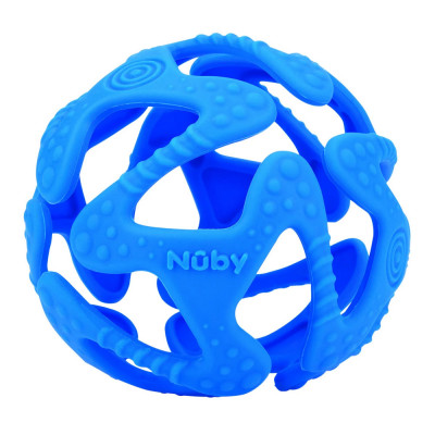 Прорезыватель силиконовый Nuby Мяч синий (6836/6836blue)