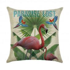 Наволочка декоративная Фламинго и попугаи 45 х 45 см