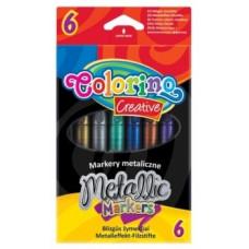 Маркеры для рисования Colorino Metallic, перламутровые чернила, 6 цветов (32582PTR)
