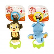 Подвесная игрушка Kids II Музыкальные зверята (в ассортименте обезьянка и слоник) 9179 ТМ: Bright Starts