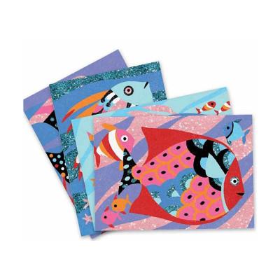 Художественный комплект для рисования цветным песком и блестками Радужные рыбки DJ08661 ТМ: Djeco