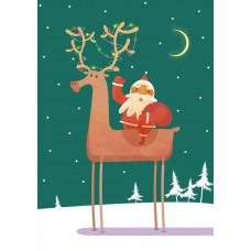 Поздравительная открытка Kinza Дед мороз на олене J010 ТМ: Kinza