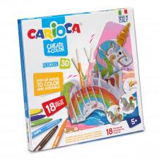 Набор для творчества Carioca Раскрась и собери 3D Единорога 42986 ТМ: Carioca
