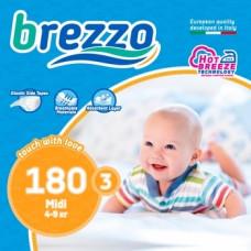 Набор подгузников Brezzo 3 (4-9 кг), 180 шт. (5 уп. по 36 шт.)