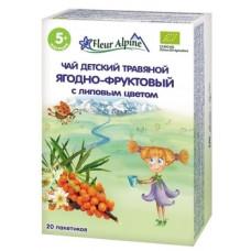 Детский травяной чай Fleur Alpine Органик Ягодно-фруктовый с липовым цветом, 20 пакетиков