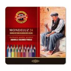 Набор акварельных карандашей в металлической коробке Koh-i-Noor Mondeluz, 24 шт. (3724)