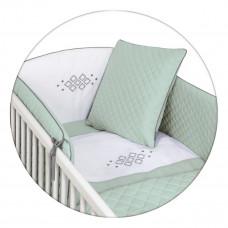 Комплект постельного белья Ceba Baby CARO 5 предметов с вышивкой мята W-809-079-157 ТМ: Ceba Baby