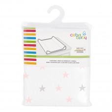 Чехол на матрас Ceba Baby Jersey Medium stars Pink&Gray 50х80 см W-821-083-081-2 ТМ: Ceba Baby