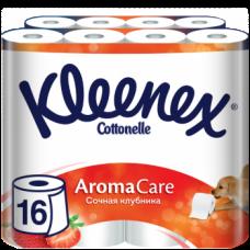 Набор трехслойной туалетной бумаги Kleenex Aromacare Сочная клубника, 16 рулонов (2 уп. по 8 рулонов)