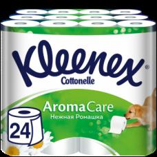 Набор трехслойной туалетной бумаги Kleenex Aromacare Нежная ромашка, 24 рулона (3 уп. по 8 рулонов)