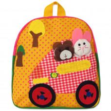 Рюкзак Машина с животными, желтый