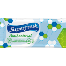 Влажные салфетки Super Fresh Антибактериальные, 15 шт.