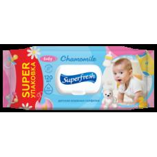 Влажные салфетки Super Fresh Chamomile для детей и мам, с клапаном, 120 шт.