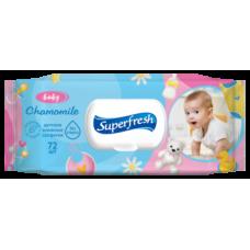 Влажные салфетки Super Fresh для детей и мам, с клапаном, 72 шт.