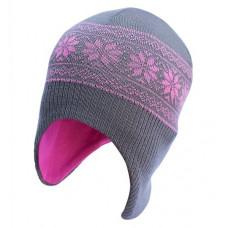 Шапка-шлем София Орнамент Снежинки, шерсть мериноса, р.46-50, серый с розовым (311-10)