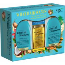 Подарочный набор OGX 3 в 1 Аргановое масло Марокко, шампунь + кондиционер + аргановое масло в подарок