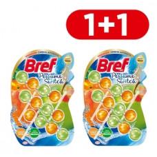 Туалетный блок для унитаза Bref Смена аромата Персик-Яблоко, 3 шт. 1+1