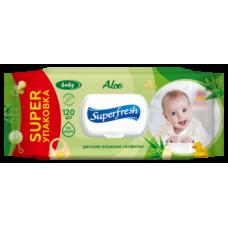 Влажные салфетки Super Fresh Аloe для детей и мам, с клапаном, 120 шт.