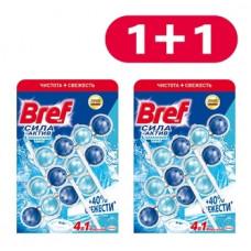 Туалетный блок для унитаза Bref Сила актив Океанский бриз, 3 шт. 1+1