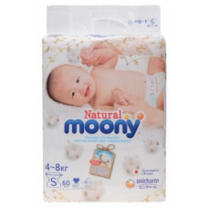 Подгузники Moony Natural S (4-8 кг), 60 шт.