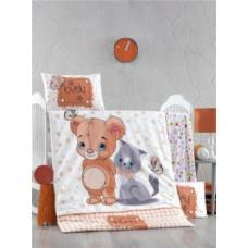 Комплект постельного белья LightHouse Mouse and Cat, ранфорс, 150х100 см, молочный с коричневым (44216)