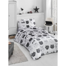 Комплект постельного белья LightHouse Lovely Cats, ранфорс, 220х160 см, серый с белым (57548_сім.LH)