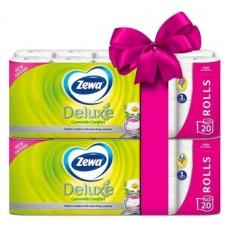 Набор трехслойной туалетной бумаги Zewa Deluxe Ромашка, 40 рулонов (2 уп. по 20 рулонов)