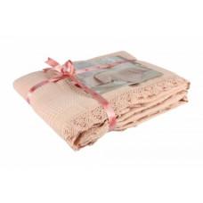 Покрывало-плед IzziHome Dantel, хлопок, 240х180 см, розовый (543905)