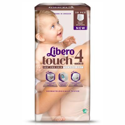 Подгузники-трусики Libero Touch, размер 4, 7-11 кг, 38 шт