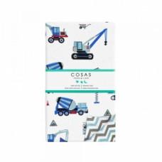 Пододеяльник Cosas Стройка, 215х155 см, белый с голубым