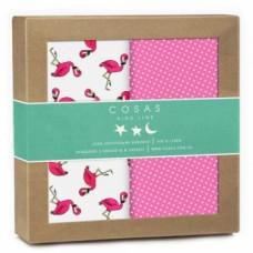 Многоразовая пеленка Cosas Фламинго, бязь, 100х78 см, белый с розовым, 2 шт.