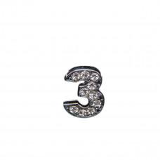 Цифра 3 со стразами