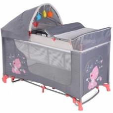 Манеж-кровать Lorelli Moonlight 2L Rocker Grey&Pink, серый (20842)