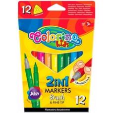 Фломастеры Colorino Brush&Fine tip, двухсторонние, 12 цветов (92500PTR)