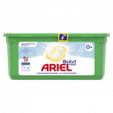 Капсулы для стирки Ariel Pods Все-в-1 Для чувствительной кожи, для белых и цветных тканей, 26 шт.
