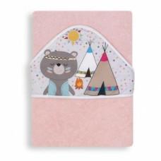Полотенце с капюшоном Interbaby Indio, 100х100 см, розовый (8100180)